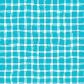 Wonky Plaid - White on Turquoise