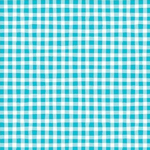 Hand-drawn Gingham - Turquoise, White