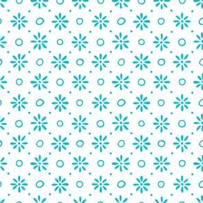 Daisies and Circles - Turquoise on White