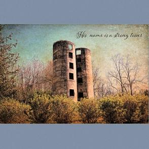 Strong Tower Scripture art wall-hanging pillow