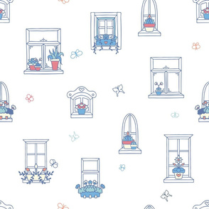 Cute Hand Drawn Window with Florals seamless pattern background.