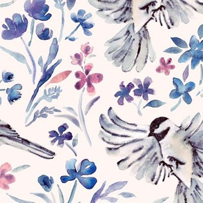 Chickadees and Wildflowers in lavender blues on cream - large