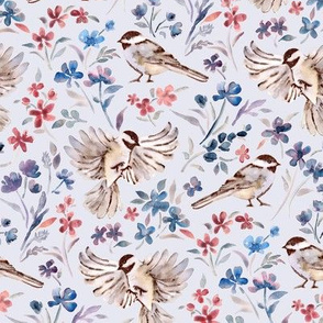 Chickadees and Wildflowers on pale blue - small