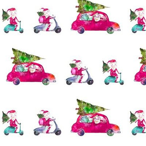 Santas on the road - watercolor christmas xmas on car and bike in pink