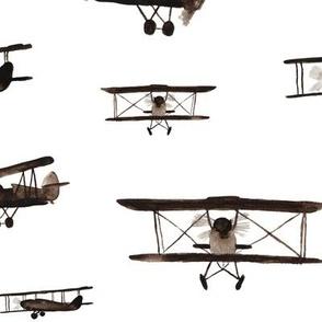 large scale retro air planes pattern - watercolor planes