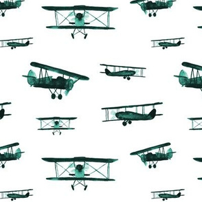 Emerald retro air planes - watercolor vintage airplanes
