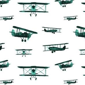 Emerald retro air planes - watercolor vintage airplanes