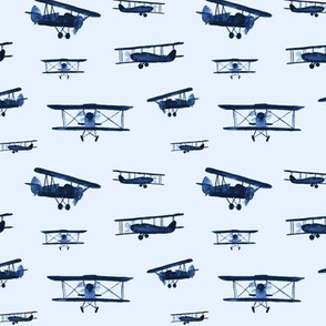 Blue retro air planes - watercolor airplanes for baby boy