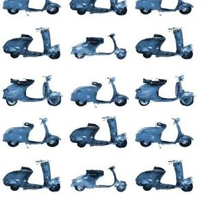 Denim blue retro motorbikes - watercolor bikes for baby boy