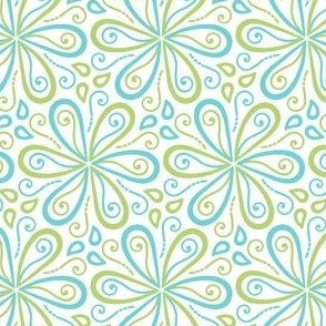 Turquoise Blue and Green Geometric Floral Pattern
