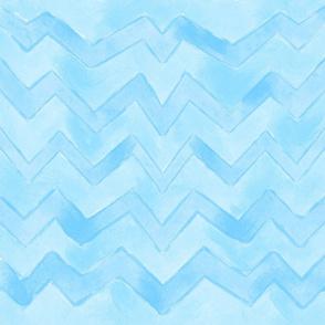 Blue Watercolor Chevron