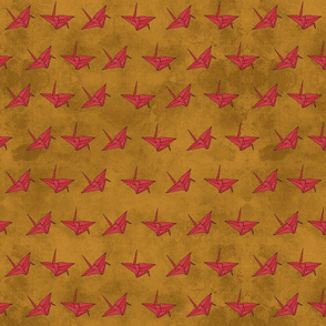 Red Cranes on Gold