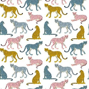 Pastel Cheetahs on White -small by Heather Anderson
