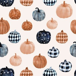 watercolor pumpkins fabric - halloween fabric - bw, sepia
