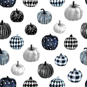 watercolor pumpkins fabric - halloween fabric - bw
