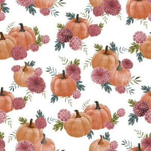 pumpkin floral fabric - watercolor autumn florals - white muted