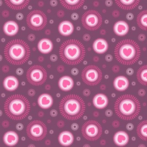 love, hearts and swirls in purple and pink