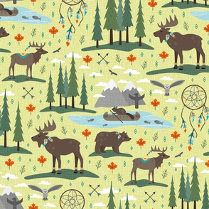 canadian woodland tribe animals - green