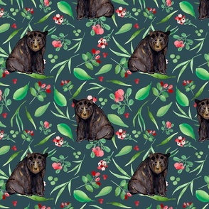 Canadian black bear and bearberries teal texture