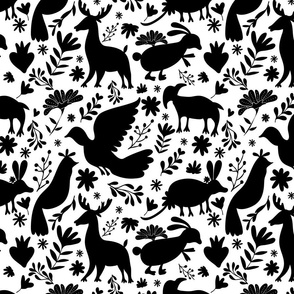 Seamless Mexican Otomi Style monochromatic Pattern