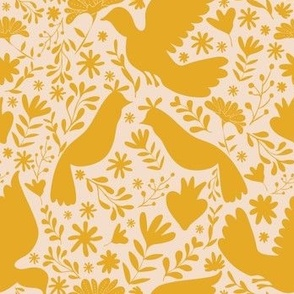 Seamless Mexican Otomi Style Big Birds and folk flowers