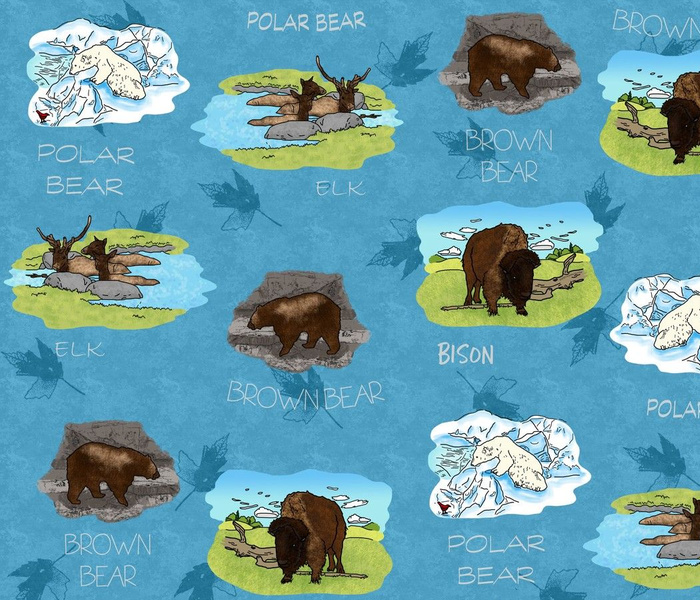 Bears Bison and Elk Oh My in blue