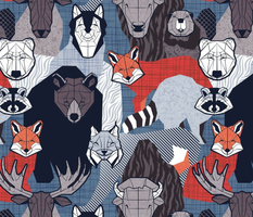 Normal scale // Canadian wild geometric animals // blue background brown bear bull moose beaver bison grey lynx black and white raccoon bear wolf red foxes