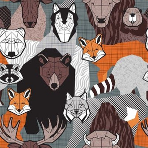 Small scale // Canadian wild geometric animals // grey green background brown bear bull moose beaver bison grey lynx black and white raccoon bear wolf orange foxes
