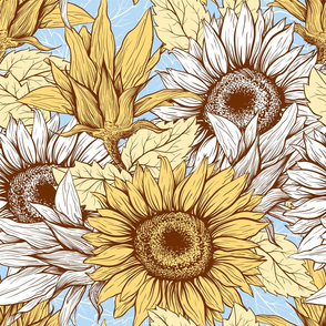 Sunflowers field pastel blue