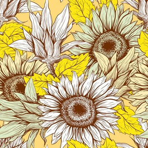 Sunflowers field line art