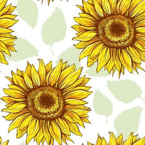 Line art Sunflowers green leaves