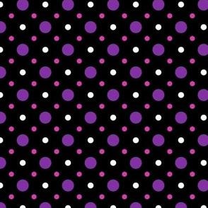 Black, Purple, Pink and White  Spots Pattern