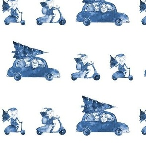 Blue Santas on the road - watercolor christmas xmas p303