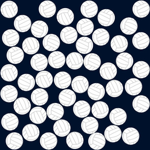 Volleyball balls on blue background
