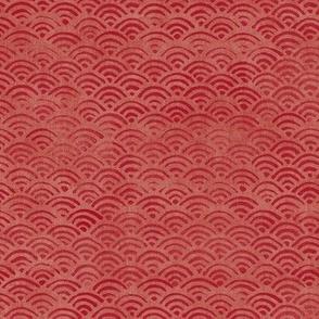 Japanese Block Print Pattern of Ocean Waves (large scale) | Japanese Waves Pattern in Red Ochre, Red Boho Print, Beach Fabric.