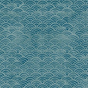 Japanese Block Print Pattern of Ocean Waves (large scale) | Japanese Waves Pattern in Teal Blue, Blue Green Boho Print, Beach Fabric.