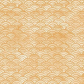 Japanese Block Print Pattern of Ocean Waves (large scale) | Japanese Waves Pattern in Yellow Ochre, Gold Boho Print, Beach Fabric.