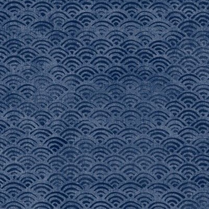 Japanese Block Print Pattern of Ocean Waves (large scale) | Japanese Waves Pattern in Indigo Blue, Navy Boho Print, Beach Fabric.