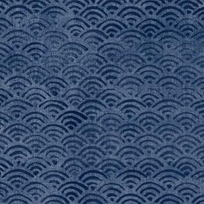 Japanese Block Print Pattern of Ocean Waves (xl scale) | Japanese Waves Pattern in Indigo Blue, Navy Boho Print, Beach Fabric.