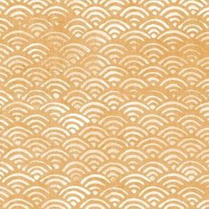 Japanese Block Print Pattern of Ocean Waves (xl scale) | Japanese Waves Pattern in Yellow Ochre, Gold Boho Print, Beach Fabric.