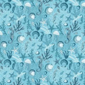 Underwater Sea Life Bright Aqua Blue