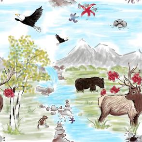 elk and bear