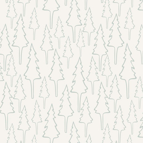 Wilderness Trees - Blue, Cream - Medium