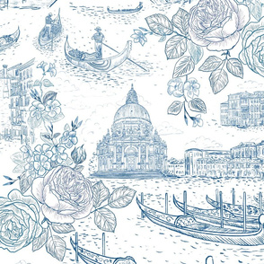 "Blue Toile de Venezia 24"""