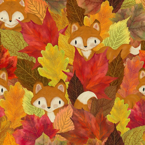 Foxes Hiding in the Fall Leaves -Autumn Fox - Large Scale