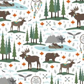 canadian woodland tribe animals - white
