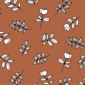 Romantic garden cotton flowers and leaves boho minimal scandinavian fields nursery nature rust copper brown