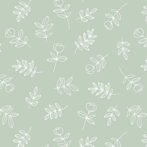 Petals and flowers boho summer garden poppy love neutral nursery moody minty sage green