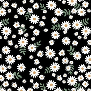 Little daisies and leaves summer garden minimal Scandinavian blossom black white green yellow