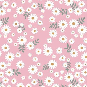 Little daisies and leaves summer garden minimal Scandinavian blossom pink white green yellow
